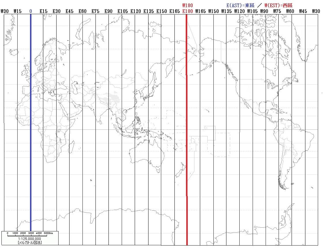 白地図 世界の白地図 : 日本版世界地図